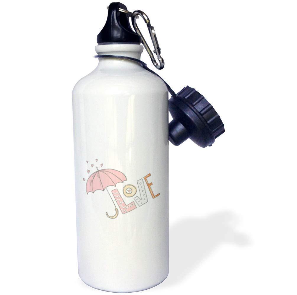 3dRose Uta Naumann Sayings and Typography - Pink Summer Joy Flying Umbrella Love Fun Illustration Typography - 21 oz Sports Water Bottle (wb_291970_1)