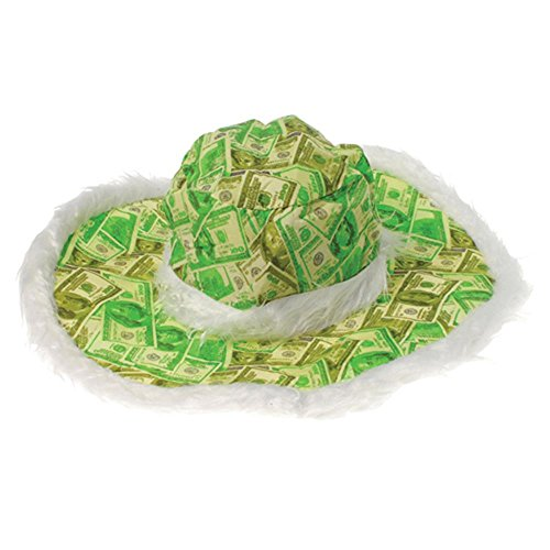 Big Money Hat makes a perfect accessory for your next casino night. Adult Size. Comes with fuzzy furry white trim. Put everything on the table with Cool Glow Casino paper goods, decorations, favors, drink ware and glow products. Celebrate wit...