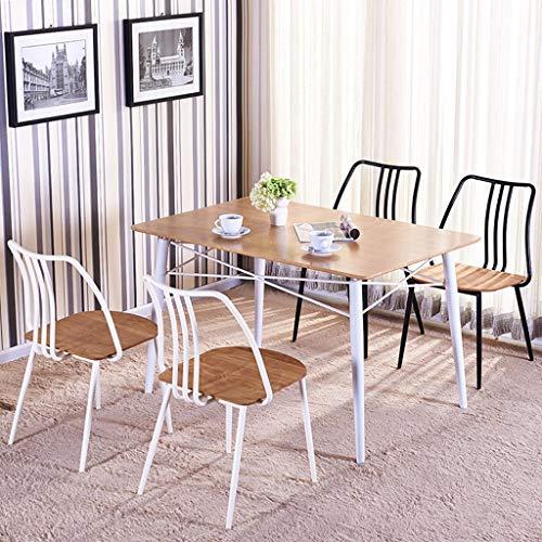 KTDT Modern minimalistisk fritidsstol massivt trä amerikansk retro smidesjärn matstol ryggstöd café bord och stolar vit