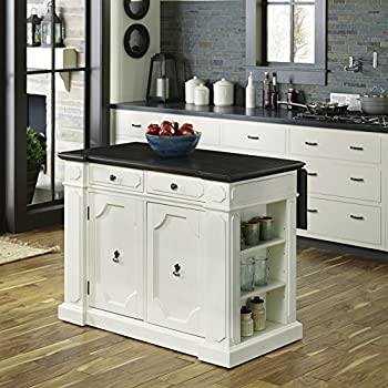 Home Styles 5002 948 Kitchen Island And Stools White And Distressed Oak Finish