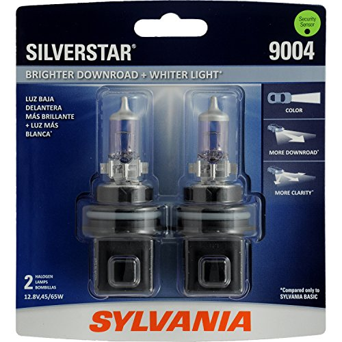 SYLVANIA - 9004 SilverStar - High Performance Halogen Headlight Bulb, High Beam, Low Beam and Fog Replacement Bulb, Brighter Downroad with Whiter Light (Contains 2 Bulbs) (Bulbs Headlight Sylvania H4)
