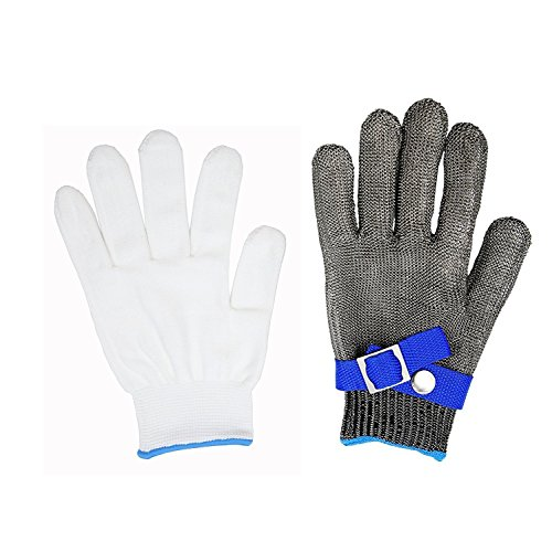 Size L Safety Cut Proof Stab Resistant Glove,Stainless Steel Metal Mesh Butcher Glove, High Performance Level 5 Protection Glove by Debris time (Image #8)