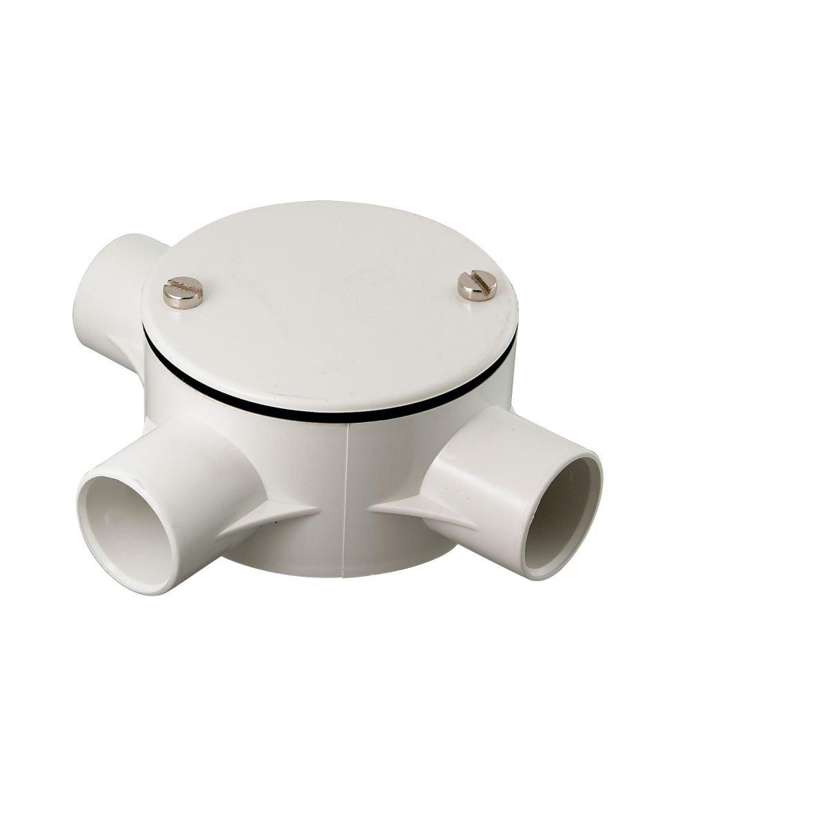 Tower 3-Way Tee Box 20mm White Pack of 1