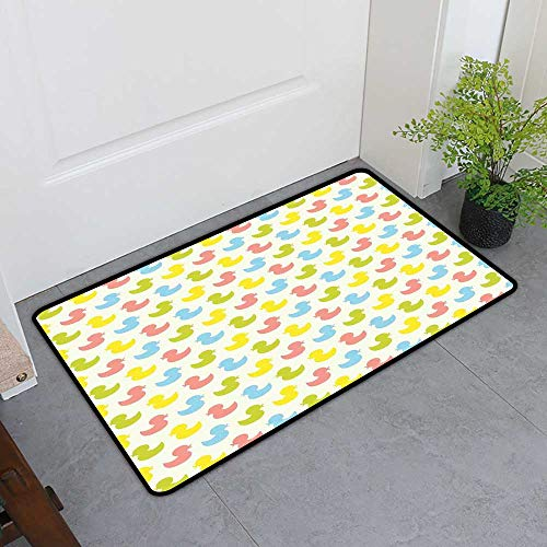 - Custom&blanket Boots Scraper Mat, Rubber Duck Non-Slip Doormats for Office, Colorful Ducklings Baby Animals Theme Pastel Girls Boys Newborn (Pink Blue Green and Yellow, H24 x W36)