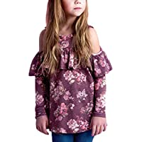 GOSOPIN Girls Cute Floral Long Sleeve Blouse Ruffle T Shirt