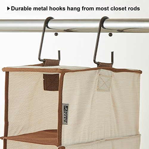 Large Product Image of WANNAKEEP 10 Shelf Hanging Shoe Organizer, Shoe Holder Closet, 10 Mesh Pockets Accessories, Breathable Polyester Cotton, 5.5x11x54 inches Beige