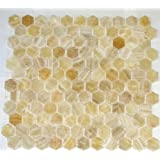 "Honey Onyx Hexagon Pattern Polished Mosaics Meshed on 12"" X 12"" Tile for Backsplash, Shower Walls, Bathroom Floors"