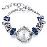 Bangle Watches for Women MANBARA Charm Beaded Bracelets with Blue Glass Beads Elegant Jewelry for Women