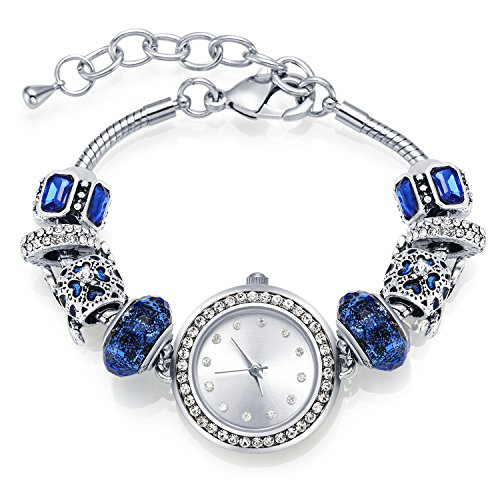 (MANBARA Bangle Watches for Women Charm Beaded Bracelets with Blue Glass Beads Elegant Jewelry for Women)