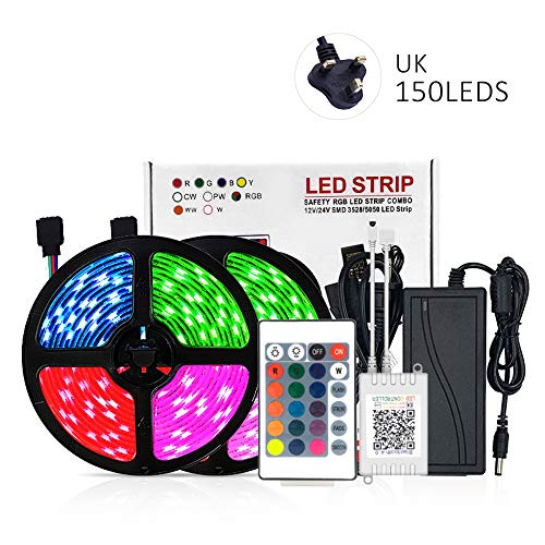 Led Strip Lights Kit,300/150 LEDs RGB 5050 Color Changing, Multicolour Rope Dimmable Led Ribbon with Ir Remote, Ip20 No Waterproof,Sync with Music, for Christmas Home Kitchen Tv Decoration