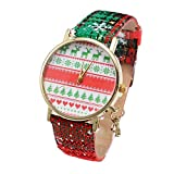 COOKI Watches Clearance Women's Christmas Snowflake Quartz Analog Watch Round Dial Wrist Watches with Leather Band