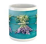 Lunarable Lavender Mug, Fresh Lavender Bouquets on Blue Wooden Planks Rustic Relaxing Spa, Printed Ceramic Coffee Mug Water Tea Drinks Cup, Sky Blue Lavender Green