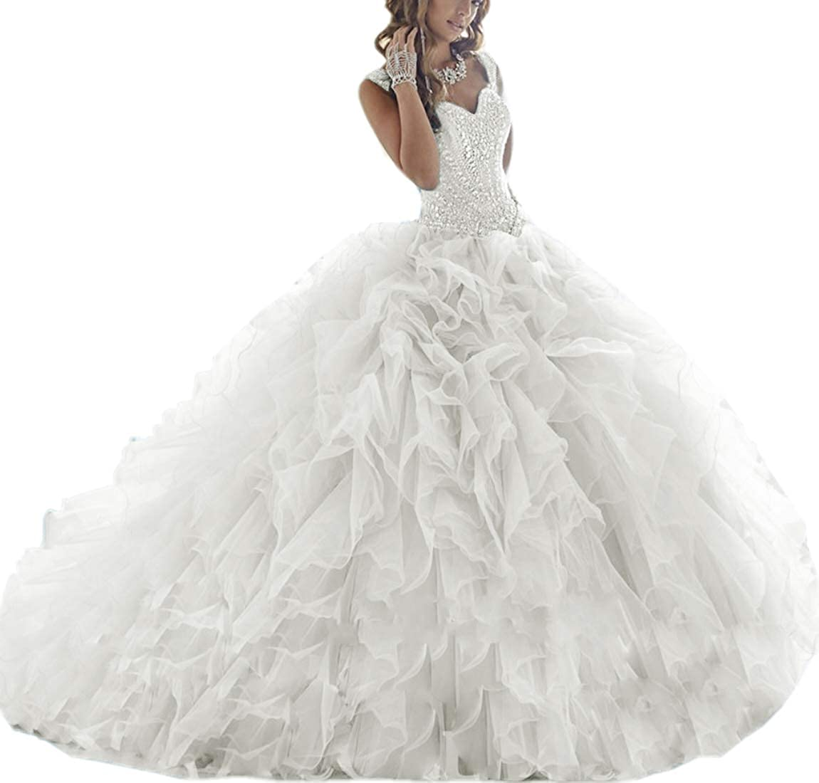 Ivory APXPF Women's Crystals Beaded Organza Ruffle Quinceanera Dress Sweet 16 Ball Gown Prom Dress