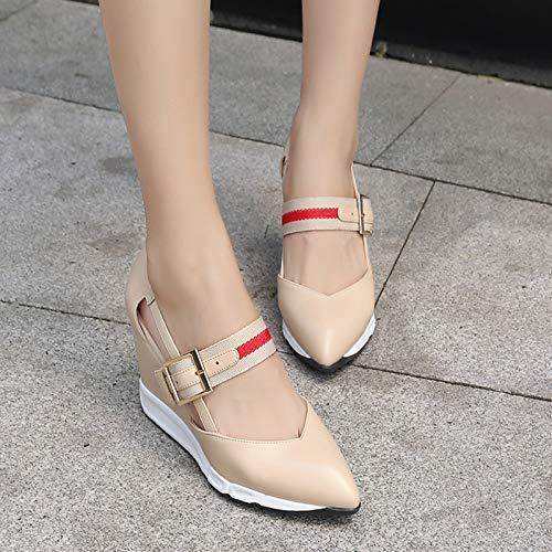 Yukun zapatos de tacón alto Nude Color High Heels Puntiagudo Femenino Spring Fine with Shallow Mouth Zapatos De Trabajo En Charol Rojo Single Shoes, 36, Blanco Apricot