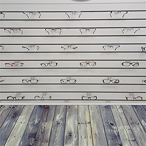 Leowefowa 3X5FT Vinyl Backdrop Thin Photography Background Weathered Wooden Stripe Floor Decorated Wall wit Glasses Artistic Children Baby Kid Portraits Backdrop 1(W)X1.5(H)M Photo Studio (Light Wit Stand)