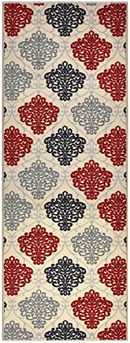 Ivory Custom Roll Runner (Custom Size Damask Roll Runner 26 in Wide x Your Length Choice Slip Resistant Rubber Back Area Rugs and Runners (Ivory, 3 ft x 26 in))
