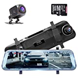Mirror Dash Camera for Cars - AKASO Dash Cam 10'' Stream Media Full Touch Screen Car Dash Cam with 32GB Card 1080P Dash Cam Front and Rear G-Sensor Parking Monitor Waterproof Backup Camera (DL9)