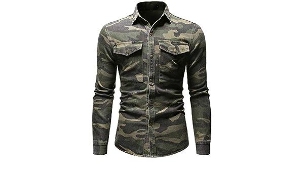 Camisa de Mezclilla de Camuflaje de Primavera otoño para Hombre Camisa de Jeans Sueltos de Manga Larga Verde Militar Blusa de Hombre