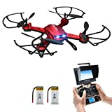 Drone with Camera, Potensic F181DH Drone RC Quadcopter RTF Altitude Hold UFO with Newest Hover Function,2MP Camera& 5.8Ghz FPV LCD Screen Monitor(Red)