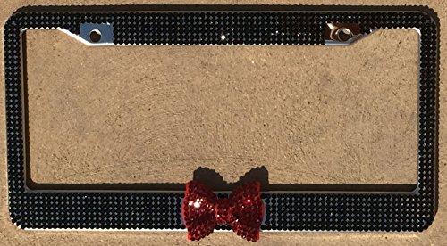 - zusooz 7 Rows of Premium Quality Black Crystal Rhinestone License Plate Frame, Garnet Red Bling Bow (Black w/Red)