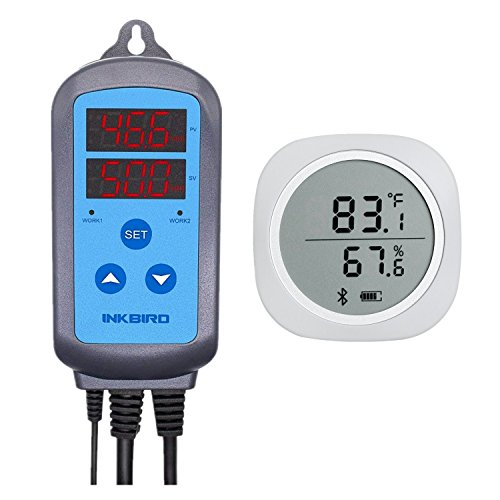 Temperature Combo Sensor - Inkbird Combo Bluetooth Wireless Temp/RH Magnetic Monitor Smart Sensor Data Logger + Temperature Humidity Controller Thermostat Hygrostat Thermometer Hygrometer (IBS-TH1 Plus + IHC-200)