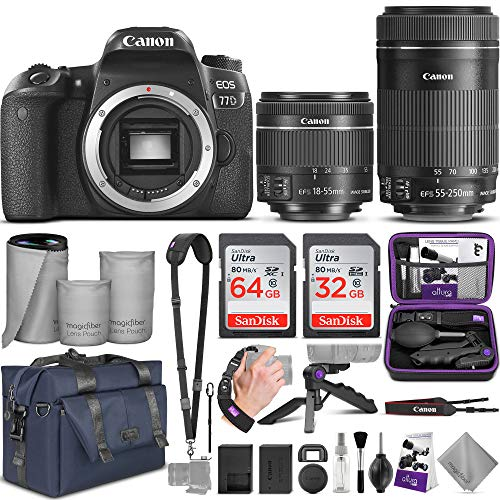 Canon EOS 77D DSLR Camera and Canon 18-55mm is STM + 55-250mm Lens with Altura Photo Complete Accessory and Travel Bundle