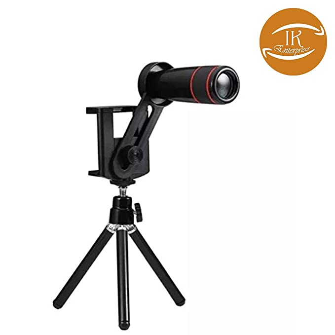 IK 8X Optical Zoom Telescope Mobile Camera Lens Kit with Tripod  amp; Adjustable Holder, Black