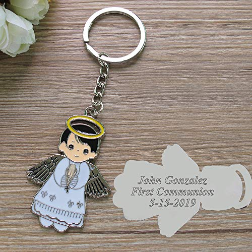 Personalized First Communion Favor (12 PCS) -White Angel Boy Metal Custom Keychain Recuredos De Bautizo Christening Gift for Guest with Engraving/Baptism ()