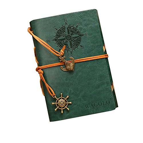 WAGOLO LEATHER JOURNAL Spiral Writing Notebook, Art Sketchbook, Travel Diary Notebooks – Antique Handmade Leather Daily Notepad with Blank Pages and R…