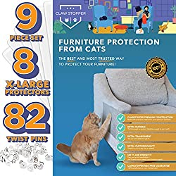 Claw Stopper Furniture Protectors From Cats - 9 Piece Set - Couch Protector from Cats - Cat Scratch Deterrent for Furniture - Couch Cat Scratch Guards - Cat Repellent Indoors - Cat Furniture Protector