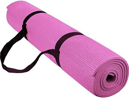 Reehut High Density Exercise Yoga Mat with Carrying Strap for Fitness and Workout, Pink