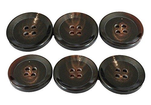 YCEE 6 Pieces Genuine Natural Big Dark Brown Horn Button Set (25mm, 1 inch) - Wide tip Rim - For Overcoat, Winter Coat, Uniform, Jacket, Blazer