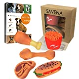 Savena Squeaky Dog Toys Pack -New Upgrade Made by Non-Toxic Odorless Environmental Materials No-Stuffing Benefit for Dog Chewing Bite Resistant Food Shapes, 5-Packs, Raising Dog E-Book Included