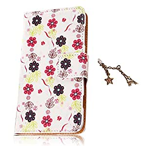 Uming® Retro Bloom Flower Series Print PU case for Sony Xperia Z2 Note Book Style Cloth Material Sew PU-Leather Flip Leather Holster with Stand Stander Holder Hand Free Credit Card Slot Wallet Hasp Magnet Magnetic Button Buckle Shell Protective Mobile Cell Phone Case Cover Bag + 1 x Anti Dust Plug - White - Little Flower