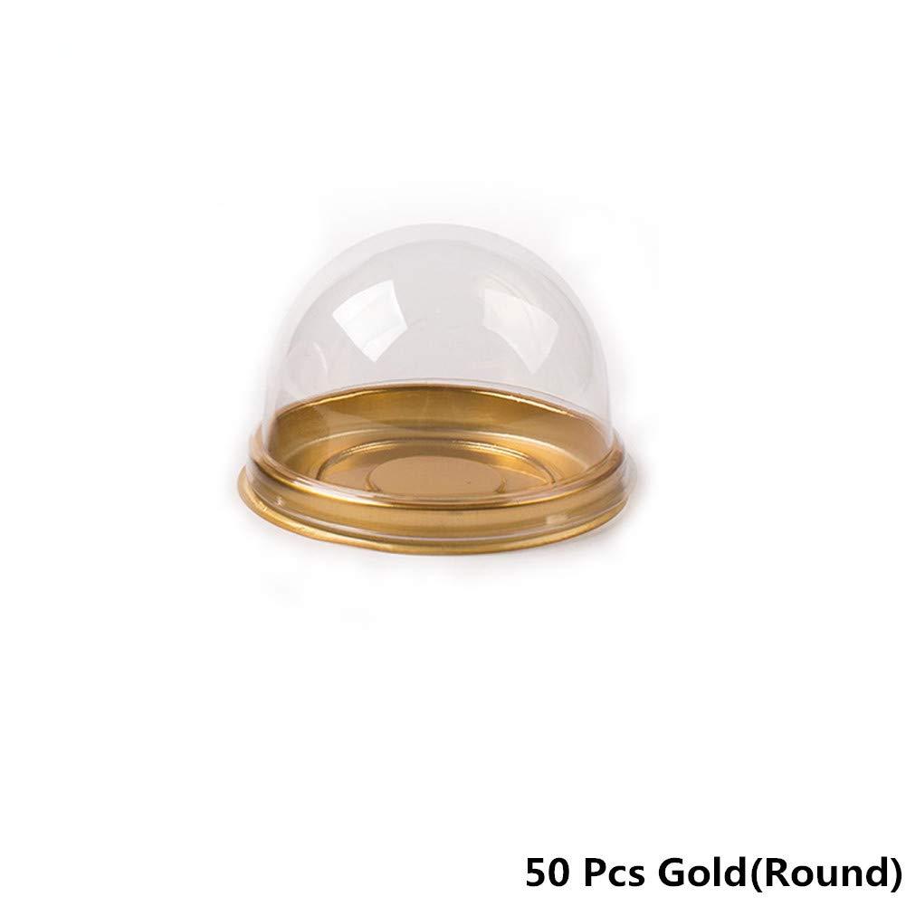 50Pcs Plastic Cake Box Round/Square Single Individual Egg-Yolk Puff Mooncake Food Tray Packaging Gift Boxes (Round, Black) Ltd