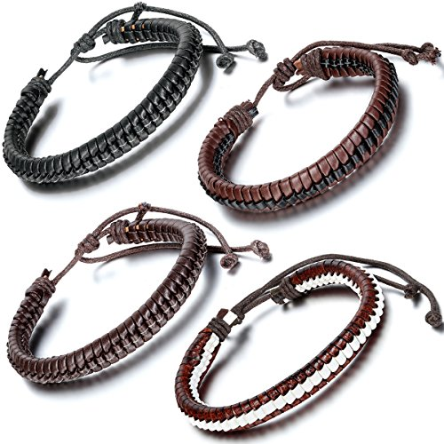 Flongo 4PCS Mens Womens Braided Leather Rope Wrap Surfer Woven Cuff Bracelet, Fit 7 -10 inch Wrist