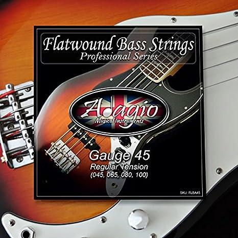 Adagio bajo eléctrico cuerdas para guitarra Flatwound 45-100: Amazon.es: Instrumentos musicales