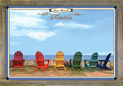 Northwest Art Mall Vero Beach Florida Adirondack Chairs Metal Print on Reclaimed Barn Wood by Joanne Kollman (12