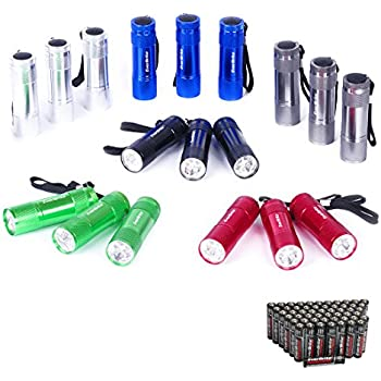 EverBrite 18-Pack Mini Aluminum LED Flashlight Set with Lanyard Batteries Included