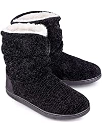 Women's Chenille Knit Bootie Slippers Cute Plush Fleece Memory Foam House Shoes