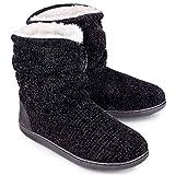 LongBay Women's Chenille Knit Bootie Slippers Cute Plush Fleece Memory Foam House Shoes (Medium / 7-8 B(M), Black)