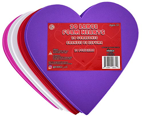 KINREX Valentine's Day Foam Hearts - Multicolor Large Foam Heart Shapes for Girlfriend, Boyfriend, Kids & Adults - Valentine Decor Creative Heart Cut-Outs - 6