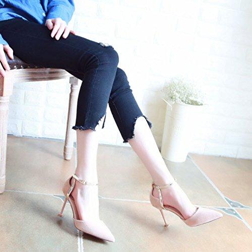 Poco Sottile Profonda Pattini Una Scarpe I Della Pink Molla Bocca Scarpe Match Con Tacchi ZHUDJ Con Tutti Alti Appuntita Fibbia Belle HfAwOxq6x