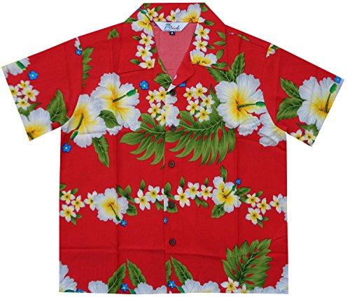 Alvish Hawaiian Shirts 10AB Boys Hibiscus Flower Print Beach Aloha Party Camp Red (Hibiscus Flower Print)