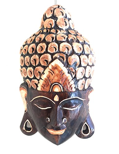 Buddha Mask Wall Hanging Decor Wood Carved Buddha Meditation Statue - OMA BRAND