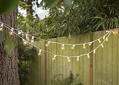LED Globe String Lights, G40 Bulb 25 Ft White C7 Strand, Warm White