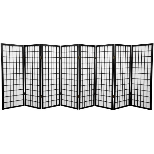 7 Panel Partition (Oriental Furniture 4 ft. Tall Window Pane Shoji Screen - Black - 8 Panels)