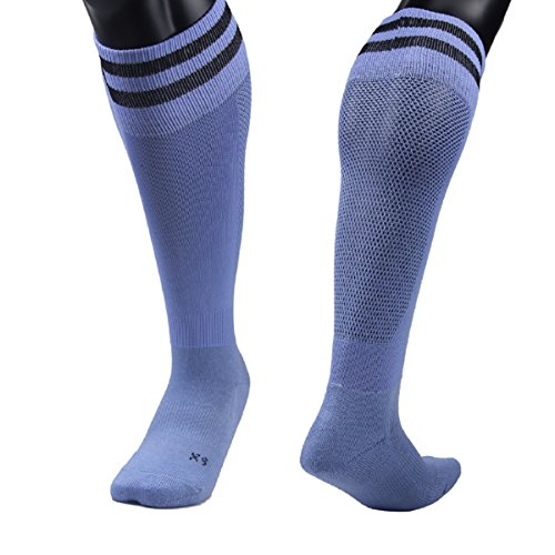 Price comparison product image Lovely Annie Girls' 2 Pairs Knee High Sports Socks for Baseball/Soccer/Lacrosse 003 XS(Light Blue)