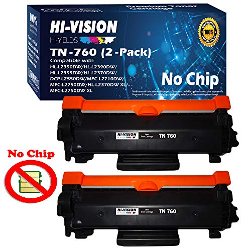 HI-VISION HI-YIELDS Compatible [NO CHIP] TN760 Toner Cartridge Replacement (High Yield) for Brother HL-L2350DW/L2390DW/L2395DW/L2370DW DCP-L2550DW MFC-L2710DWL2750DW HL-L2370DWXL (Black, 2-Pack)