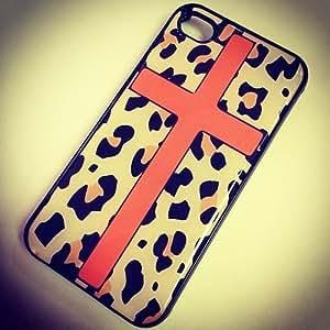 BLACK Snap On Hard Case IPHONE 4 4S Plastic Skin Cover - ORANGE CROSS LEOPARD cheetah print animal